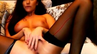 Dark haired brunette with perfect tits Live Cam Show